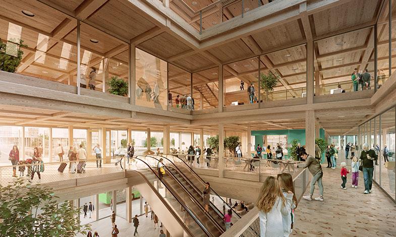 Växjös nya stads- och stationshus byggs i trä och glas