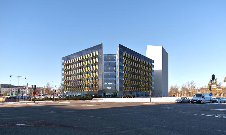 Assemblin ordnar el och solpaneler till kontorshus | Hållbart Byggande