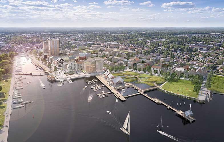 Den nya hamnen får ett nytt utseende med två höga våningshus och en bro som