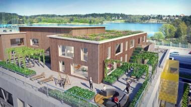 Nytt kontor i trä växer fram i Solna