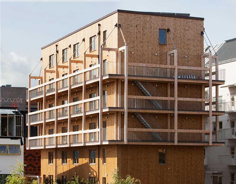 Trähus med hyresrätter i Vallastaden. Byggherre är BoPro och arkitekter Spridd. Foto: Erik Claesson.